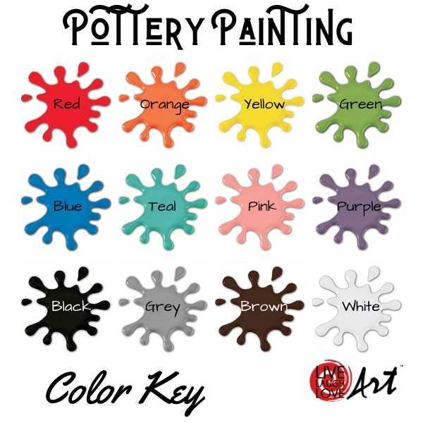 Pottery Painting Kit to go color key
