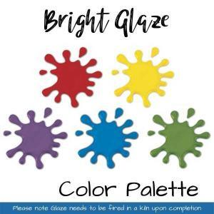 Bright Glaze Color palette red, yellow, purple, blue, green. Please note glaze needs to be fired in a kiln upon completion